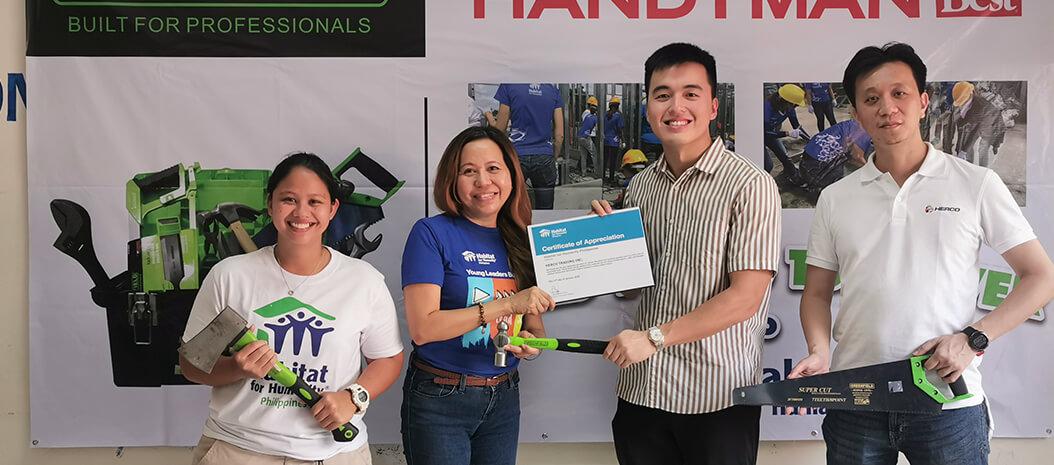 Handyman, Herco Trading donate hand tools to Habitat Philippines.